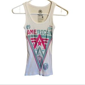 American Fighter White Tank Top Size Small